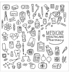 Health care and medicine doodle icon set vector