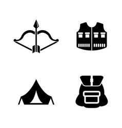 hiking simple related icons vector image