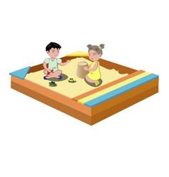 hildren play in the sandbox vector image