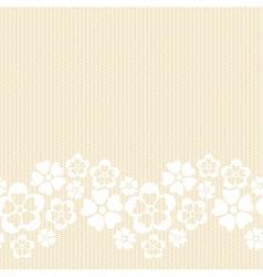 Horizontal white lacy flower border vector