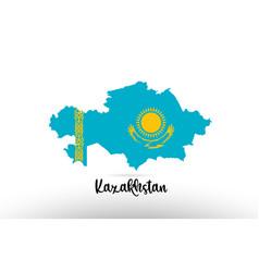 Kazakhstan country flag inside map contour design vector