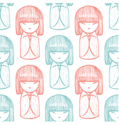 kokeshi graphic pattern in hand drawn style vector image