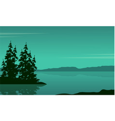 Lake scene with spruce silhouette vector
