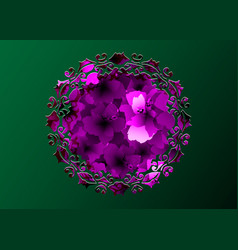 laser cut round border mandala purple flowers vector image