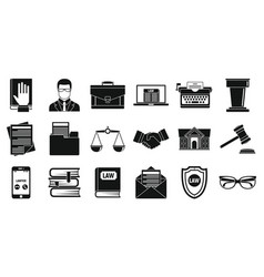lawyer legal icons set simple style vector image