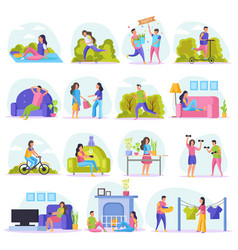 Lazy weekends people flat icon set vector