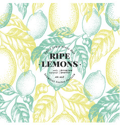 lemon tree seamless pattern hand drawn vector image