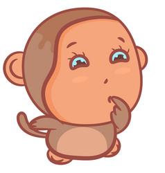 Little boy monkey snicker scene vector