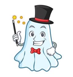 Magician cute ghost character cartoon vector