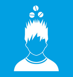 Man with tablets over head icon white vector