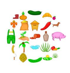 manual labor icons set cartoon style vector image
