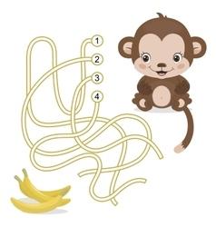 Maze game for preschool children with monkey vector
