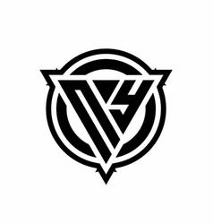 Ny logo with triangle shape and circle vector