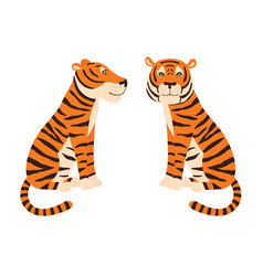 orange tiger sitting colorful frendly tiger side vector image