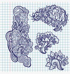 Pen floral ornaments in school notebook vector