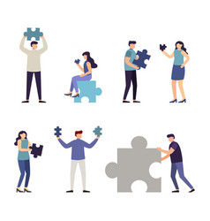 people holding jigsaw puzzle piece vector image