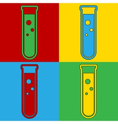 Pop art laboratory glass icons vector image