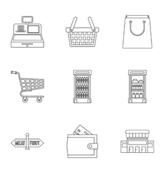 Purchase in shop icons set outline style vector