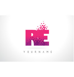 Re r e letter logo with pink purple color and vector