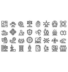 Responsibility icons set outline style vector