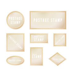 retro postal stamp template with shadow blank vector image