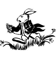 Running white rabbit the white vector