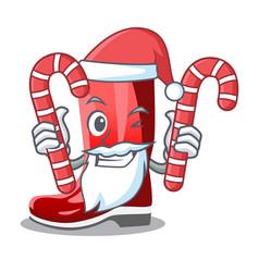 Santa with candy muddy farmer boots shape the vector