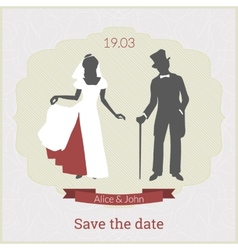 save date card template with bride and groom vector image