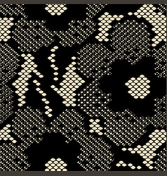 seamless black flower lace pattern on beige vector image