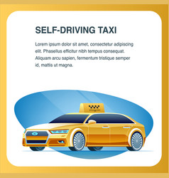 self driving taxi vehicle square banner vector image