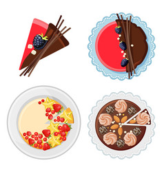 set of birthday cakes with fresh organic fruits vector image