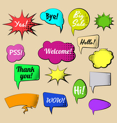 set of cartoon comic speech bubbles colored vector image