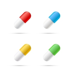 Set of different colours pills capsules on white vector image vector image