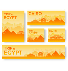 set of egypt landscape country ornament travel vector image