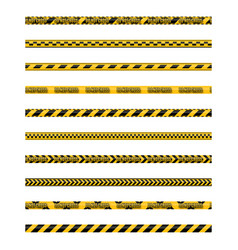 set of seamless yellow and black warning tapes vector image