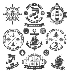 set vintage nautical labels and icons 2 vector image