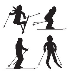 Skier silhouette icon set isolated jumping vector