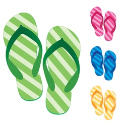 Slippers set Multicolored slippers isolated on vector image