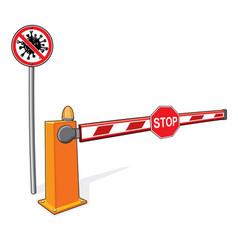 Stop sign covid-19 barrier customs control sign vector