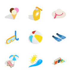 Summer holidays icons isometric 3d style vector
