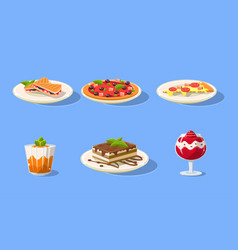 tasty dishes set delicious food pizza cake vector image