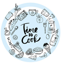 Time to cook lettering hand drawn vector