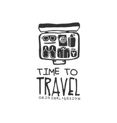 Time to travel logo with traveler suitcase and vector