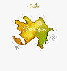 Travel around the world Azerbaijan Watercolor map vector