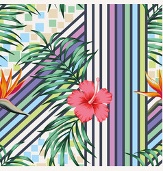 tropical leaves and flowers cold color vector image