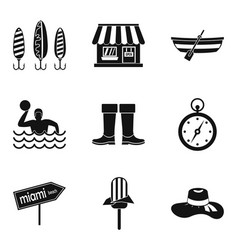 Wastewater treatment icons set simple style vector
