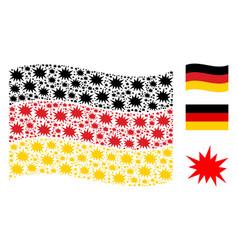 Waving germany flag mosaic of bang items vector