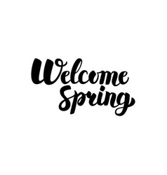 welcome spring handwritten lettering vector image