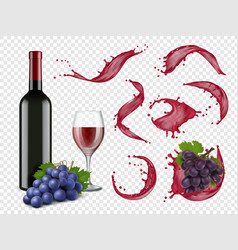wine splashes liquid red drops grapes bottles and vector image