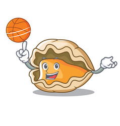 with basketball oyster character cartoon style vector image